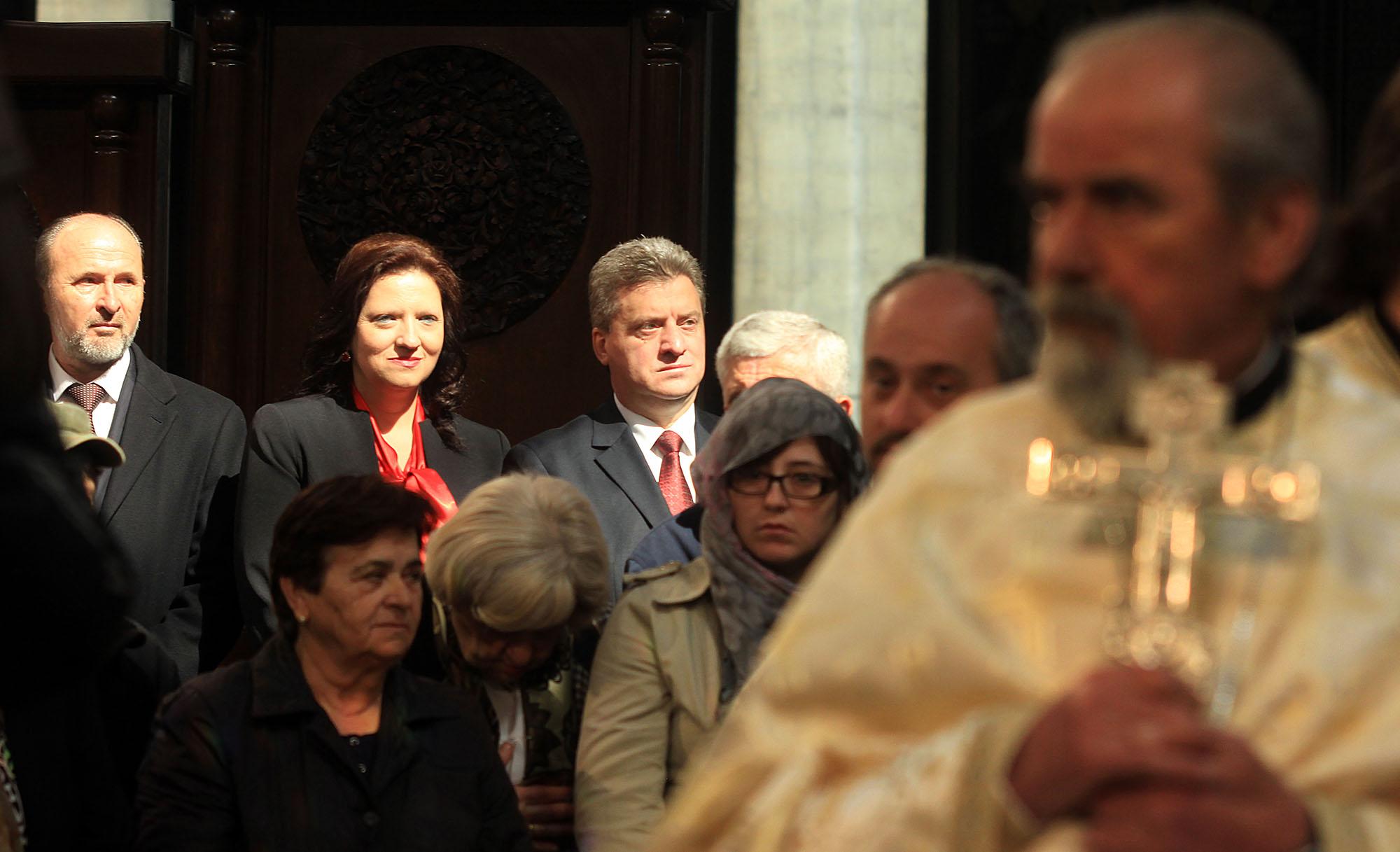 Иванов и Трајановски на воскресна литургија во Соборниот храм